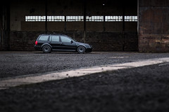 (Chris B70D) Tags: vw golf mk4 estate 19 tdi pd130 low wagon black grey bora front jetta rotiform vce satin gloss daily driver roof bars volkswagen photoshoot automotive photography crail airfield location listed heritage site architecture buildings abandoned rust texture shed industrial brick evening scene canon 70d 18135 50mm f14 light contrast edit raw reflection rain clouds weather scotland