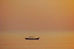 On The Bay (The Spirit of the World ( On and Off)) Tags: myanmar bayofbengal bay burma horizon boat water sea light pastel orange evening waterscape seascape