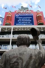 Nolan Ryan (Chuck Diesel) Tags: texas sports dfw baseball rangers arlington mlb ballpark nolanryan coke cocacola curtaincall statue salute pitcher flags