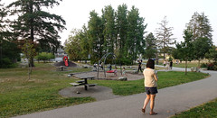 Late evening in George Mclean Park (D70) Tags: late evening george mclean park sony dscrx100m5 ƒ35 88mm 180 125 cell phone texting walking playing playground dusk