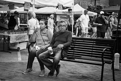 Market Bench 1 (mfhiatt) Tags: img21190618jpg bench market farmersmarket downtownfarmersmarket desmoines iowa blackandwhite street streetphotography