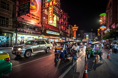 Chinatown, Bangkok, Thailand (KSAG Photography) Tags: bangkok thailand chinatown city urban street neon sign lights tuktuk transport publictransport hdr night nightphotography nikon asia southeastasia people september 2017 35mm