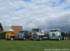 Group photo of Michael Gully's Cabover's on display. (Michael Cereghino (Avsfan118)) Tags: 2016 aths american historical truck society national convention show freightliner coe coes cabover cab over engine collection michael gully salem oregon