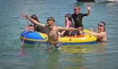 Splashing About with family. (jamiegaquinn) Tags: salcombe splashing fun cousins family heatwave summer beach dingy jump jumping splash iplymouth