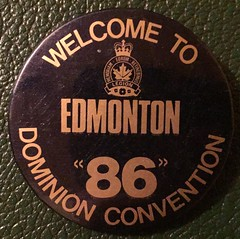 EDMONTON DOMINION CONVENTION 1986--- PIN BACK BUTTON (woody1778a) Tags: edmonton edmontonhistory alberta canada pinback button history mycollection myhobby