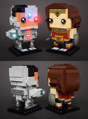 Cyborg & Wonder Woman (Justice League 2017) (Andrew Cookston) Tags: lego dc comics cyborg ray fisher vic victor victory stone wonder woman diana prince gal gadot custom moc brickheadz dark red blue gold grey gray macro toy still life photography andrew cookston andrewcookston