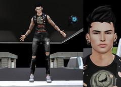 { James } ({ Max Hades }) Tags: head skin hair eyes ears tshirt pants sneakers tattoo glasses
