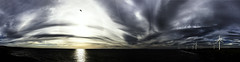 Pano at sunset, Northside, Workington, Cumbria, UK (23/6/18) (gizmo-the-bandit) Tags: pano panorama nature uk sea seaside coast coastal clouds landdscape sun sunset storm weather