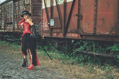Hurry up...i have got a train to catch!!!! (2forArt) Tags: artistic woman posing model shoot urbex