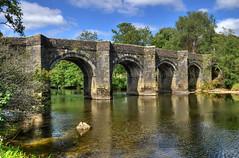 The River Tamar at Horsebridge, near Tavistock (Baz Richardson (away until early October)) Tags: rivertamar cornwall devon horsebridge medievalpackhorsebridge 15thcenturybridges