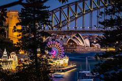 Harbour lights (Bronte Boy) Tags: sydney sydneyharbour harbour bridge lunapark operahouse night reflections fujixt2