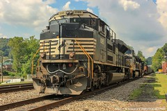 NS 1085 in Appalachia VA (Railroad Gal) Tags: ns1085 norfolksouthern sd70ace emd locomotive train norfolksouthernappalachiadistrict appalachiava appalachianmountains appalachian railfan railfanning femalerailfan wisecountyva virginia sky clouds summer sunshine grass rocks railroadtracks railroadsiding