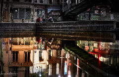 Univers parallèles... (hedes) Tags: paris canalsaintmartin sony alpha9 85mmgmaster 85mm14 reflets mirror water eau pont bridge night soir evening
