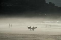 50K02715a_C_2017-06-20 (Kernowfile) Tags: mist beach sand people surfing surfboards rocks cliffs stives porthmeorbeach cornwall waves pentax