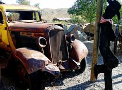 Missing his Horse, Randsburg Ghost Town, CA 2015 (inkknife_2000 (9.5 million views)) Tags: randsburgca ghosttown sanbernardinocounty dgrahamphotooldtruck rustytruck antiquetruck rust cowboy metalsculpture