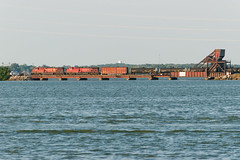 18-5368 (George Hamlin) Tags: ohio bay view sandusky lake erie water sky bridge movable railroad freight train norfolk southern empty oil tank cars railway canadian pacific general electric diesel locomotives golden beaver photo decor george hamlin photography
