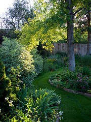 Summer Evening Garden Path (The Good Brat) Tags: colorado us garden path summer evening green light shadow trees sky flowers plants backyard curve grass lawn