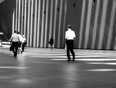 White shirts and shadows (tokyobogue) Tags: tokyo japan nikon nikond7100 d7100 tokyointernationalforum blackandwhite blackwhite monochrome people street streetphotography lines sunbeams shadows urban architecture modernarchitecture