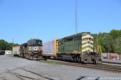 NS 9527 and RBMN 3057 (Trucks, Buses, & Trains by granitefan713) Tags: ns norfolksouthern rail train freighttrain railroad railfan locomotive sunburyline nssunburyline ge generalelectric gec449w ged944cw dash9 d9 roadpower mixedfreight manifest