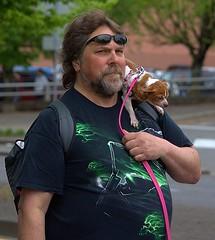 Dog Carrier (Scott 97006) Tags: guy man dog canine animal pet petite beard cute