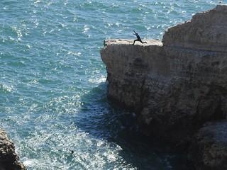 Daredevil Jump Off a Cliff at Shark Fin Rock - Shark Fin Cove, California