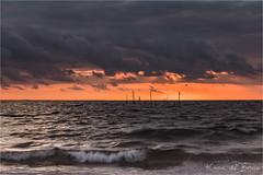 Moody! (karindebruin) Tags: hellevoetsluis nederland noordzee northsea rockanje thenetherlands visnetten voorneputten zonsondergang zuidholland beach clouds fishingnets strand sunset water wolken