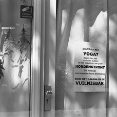The Pickup (Arne Kuilman) Tags: kosmofoto kosmofotomono iso100 contax zeiss 50mm 50mmf17 slr film homedeveloped pyrocathd 11minutes developed developer netherlands nederland yoga funny sign dogshit ergernis