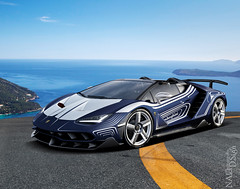 Lamborghini Centenario (nike_747Original) Tags: naksphotographydsign lamborghini centenario porcelain lorblancedition supercar hypercar super hyper car sportscar sport class exotic rare luxury color auto limited edition roadlegal unique paint scheme coupe roadster cabrio cabriolet opentop awd v12 v 12 mountains heliport helipad asphalt sea edge sky clouds town hill island precipice