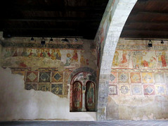 Bergamo, frescoes in the chapel of the Holy Cross (Sokleine) Tags: chapel chapelle cappella santacroce holycross saintecroix middleages medieval romanesque roman heritage bergamo lombardia lombardie italia italy italie fresques frescoes murals paintings indoor interior