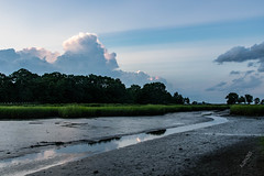 Aloha365 - Day 119 - August 14, 2018 - Low tide in Black's Creek (alohadave) Tags: 365project aloha365 blackscreek caddypark massachusetts norfolkcounty northamerica partlycloudy pentaxk3 places puffyclouds quincy season sigma1750mmf28exdchsm sky summer sunset tidalestuary unitedstates water wollaston