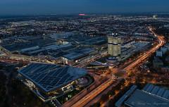 BMW World ( Munich ) (vanregemoorter) Tags: panorama bluehour city cityscape traffic ville munich allemagne ciel bâtiment