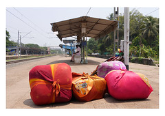 the long wait (handheld-films) Tags: india railway station platform travel packages freight parcels individual man trainstation kerala indian