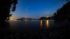At the lake during the night (ramvogel) Tags: sony a6300 luzern vierwaldstättersee samyang 8mm fisheye water lake light stars sky
