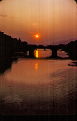 Arno Sunset, 1968 (Bill in DC) Tags: italy italia firenze florence 1968 film 35mm kodachrome64 agfa arno
