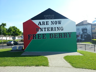 Free Derry Corner in Palestinian Flag colours
