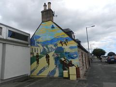 """""""Saltburn's Past"""" Mural, Invergordon, August 2018 (allanmaciver) Tags: saltburn past ken white 2007 artist mural gable end chimney house grey day allanmaciver"""