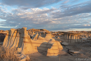 Bisti striped hoodoos in early morning light