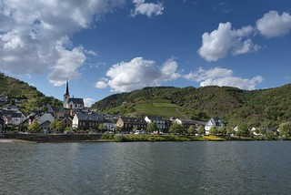 The small village Klotten at the river Mosel, Germany, seen from the ferry over the river Mosel