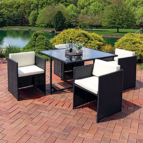Sunnydaze Miliani 5-Piece Outdoor Dining Patio Furniture Set with Black Wicker Rattan and Beige Cushions For Sale
