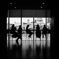 Ladies Who Lunch (Sean Batten) Tags: london england uk europe tate tatemodern blackandwhite bw skyline people city urban nikon df 35mm stpauls light shadow