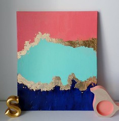 Title: Don-Yell This painting was made using many coats of professional grade acrylic paints on a primed stretched canvas. There is no need to frame this as it is finished on the sides. The colors here are Coral, Mint, and Navy. **Get a custom order with (Home Decor and Fashion) Tags: acrylic added affect between blocks canvas coats color colors coral custom details donyell finished for frame get gives goldleaf grade here is it made many me message mint navy need no off order own painting paints primed professional shiny sides solid stretched texture there this title topped using w was with your