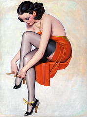 Making a Beau Beep, Film Fun, September 1939, cover by Enoch Bolles (gameraboy) Tags: enochbolles pinup pinupart woman boobs vintage art illustration painting makingabeaubeep filmfun 1930s stockings thighhighs nylons heels 1939 cover