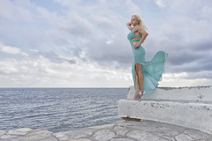 Windy Voula (DZ-fotografia - 10 Million views, Thx) Tags: turquoise dress long blonde hair sexy lady woman voula sea meduterranean water clouds wind white stilettos bench