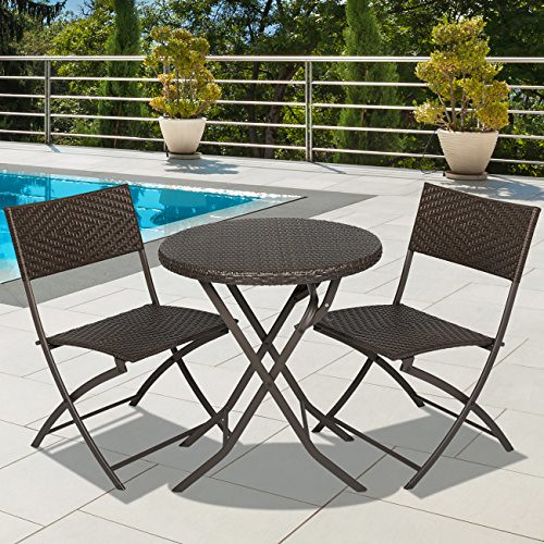 Best Choice Products 3pc Rattan Patio Bistro Set Hand Woven Furniture