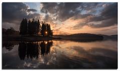Залез / Sunset / (veselin.vatkov) Tags: sunset lake trees water wart summer mountain contrast clouds sunstar sunburst reflection