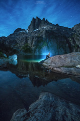 Triple Moonglow (Gavin Hardcastle - Fototripper) Tags: triplepeak vancouverisland bc lake astrophotography moonlight nightscapes reflection camping hiking gavinhardcastle