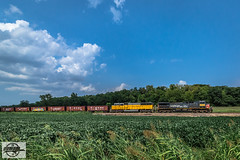 Eastbound Empty Rock Train at Independence, MO (Mo-Pump) Tags: train railroad railfan railroader railway railroading railroads locomotive