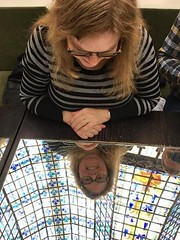 Sue Reflected In The Mirrored Table Underneath The Stained Glass Dome At Brasserie Printemps (Joe Shlabotnik) Tags: 2018 notmine stainedglass sue reflection printemps fromclaudia march2018 justsue