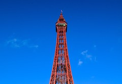 Blackpool Tower (rustyruth1959) Tags: flagpole unionflag flag bluesky sky viewwindow building gradeilisted towercomplex lift structure metalwork red tower blackpooltower blackpool lancashire england uk tamron16300mm nikond5600 nikon alamy