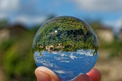 One village in my hand - Un village dans ma main (Sébastien Vermande (Only the Weekend)) Tags: canon100d france midipyrénées lot été summer bokeh macro paysage landscape arbres trees village maison house pierre stone tour tower médiéval medieval middleage réflexion reflection bouledecristal crystalball enchantment retouche traitement treatment hdr canonef50mmf18mk1 vermande bright eos